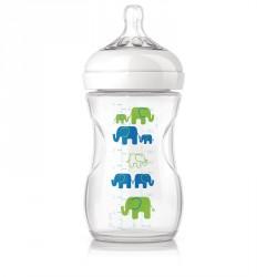 Sutteflaske fra Philips AVENT - PP - Natural - 1m+ - Blå elefanter
