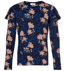 The New Bluse - Melua - Black Iris m. Blomster