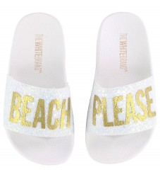 The White Brand Badesandaler - Beach Please m. Hvid Glimmer