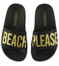 The White Brand Badesandaler - Beach Please m. Sort Glimmer