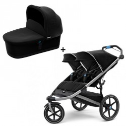 Thule Urban Glide 2 Double Klapvogn Jet Black + Bassinet Sort
