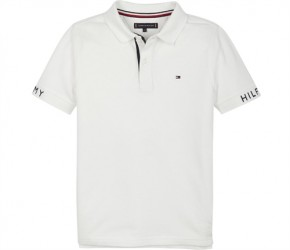 Tommy Hilfiger Text Polo T-Shirt - Hvid