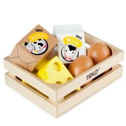 Træ mad æg og mejeri