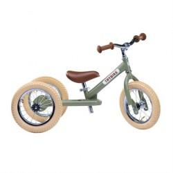 Trybike løbecykel Trehjulet Vintage Grøn, 2 i 1 løbecykel