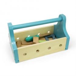 Værktøjskasse i træ med 4 stykker værktøj - Mamamemo