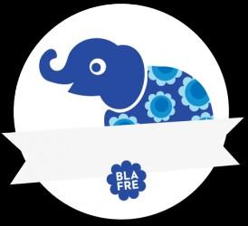 Vandfast navneskilt fra Blafre - Blå Elefant