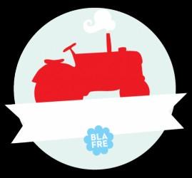 Vandfast navneskilt fra Blafre - Rød Traktor
