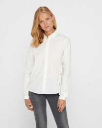 VILA White S langærmet skjorte