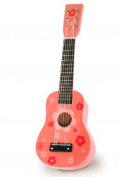 Vilac guitar - lyserød med blomster