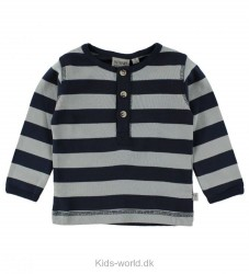 Wheat Bluse - Grandad - Navy/Lysegråstribet