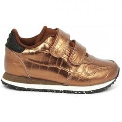 Woden Kids Sneaker Croco Shiny - Burnished Copper